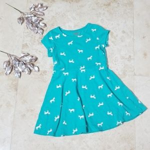 CAT & JACK Small Teal Unicorn Dress/3 for $25